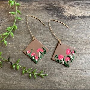 Hand crafted Mushroom polymer clay earrings